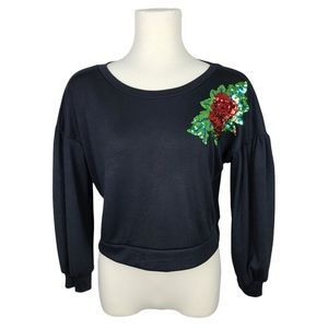 Boohoo Black Top with Sequin Rose size Large